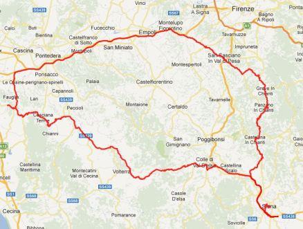 Tour des Tages: Von Siena durch die Toskana nach Fauglia, ganz im Westen. Dann an Florenz vorbei und durch den Chianti wieder zurück nach Siena.