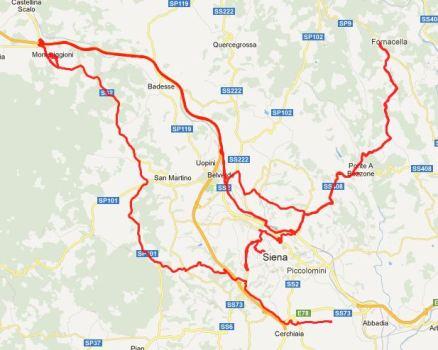 Irrfahrt: Von Fornacello nach Monterrigioni, im Schrittempo zurück, wieder nach Monteriggioni und zurück ins Casa Brescia. Karte: Google.