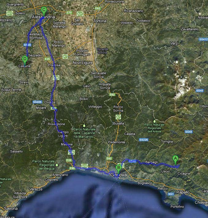 Reiseroute Tag 11: Von Moconesì über Genua durch den Piemont nach Cassine.