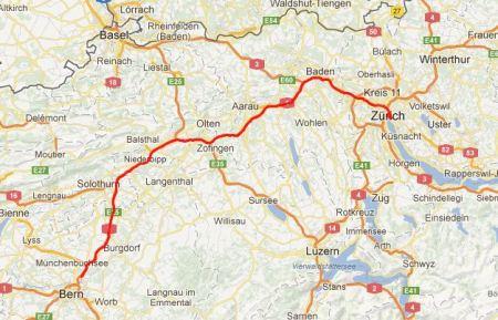 Von Bern nach Zürich.