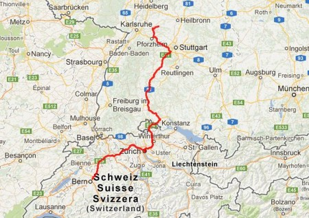 Tagesetappe: Von Bern über Zürich und Winterthur bis nach Karlsruhe, ca. 450 Kilometer.