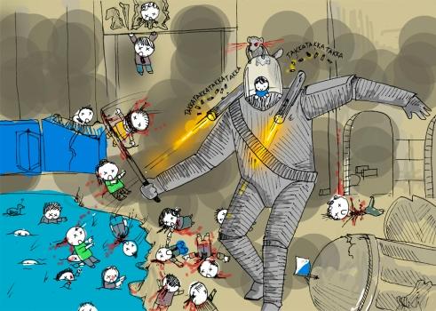 Owley am Steuer eines 20 Meter hohen Kampfroboters, auf dessen Schulter das Wiesel hockt und Zombies beschwört. Ilustration: Owley himself.