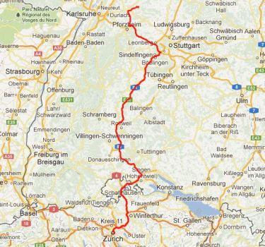Von Zürich nach Deutschland.