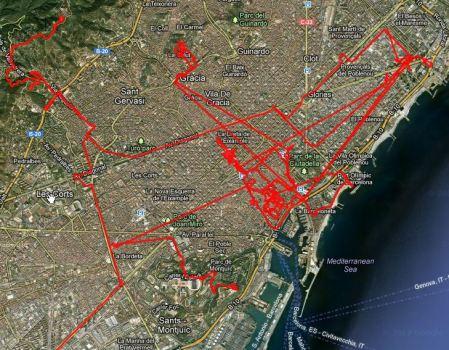 Wege durch Barcelona. Insgesamt mehr als 100 Kilometer in drei Tagen, viel davon allerdings mit der U-Bahn.