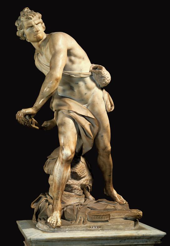 In der Bewegung eingefangen, mit hochkonzentriertem Gesichtsausduck: David. Angeblich ein Selbstportrait Berninis.
