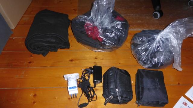 Das war (fast) das ganze Gepäck für 8 Tage. Quasi Nix.