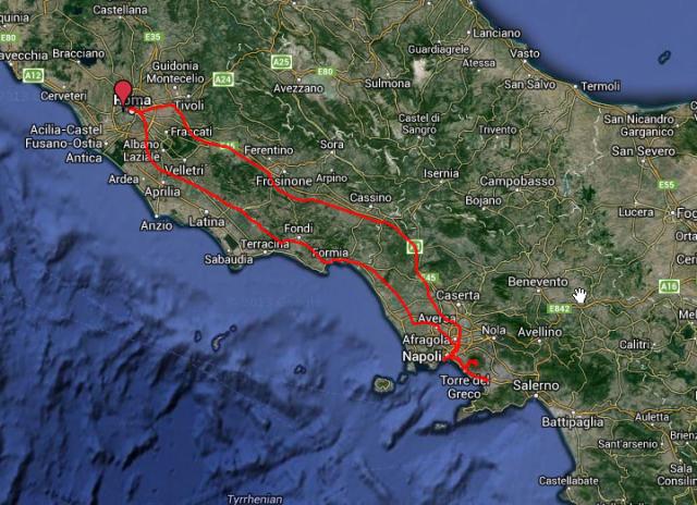 Fahrt nach Neael, von dort nach Ercolano und Pompeji. Die infahrt war die östliche Route und dauerte genau eine Stunde für 250 Kilometer. Die Rückfahrt ging teils an der Küste entlang und dauerte doppelt so lange.