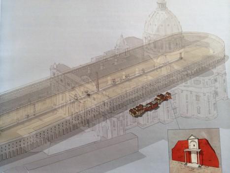 Die Lage der roten Mauer und der Ädikula unter dem Vatikan, überlagert von einer Zeichnung des Circus, der sich hier auch mal befand.
