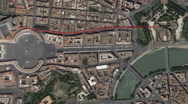 Der Passetto Borgia, der geheime Fluchtgang der Päpste, verläuft im Inneren einer Mauer vom apostolischen Palast bis zur Engelsburg.