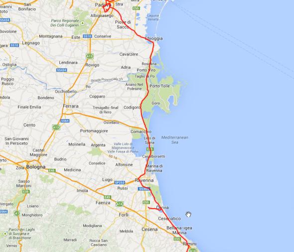 Sieht reizvoll aus, ist aber langweiliger Schrunz und lässt sich schlecht fahren. Vonm Padua nach Rimini.
