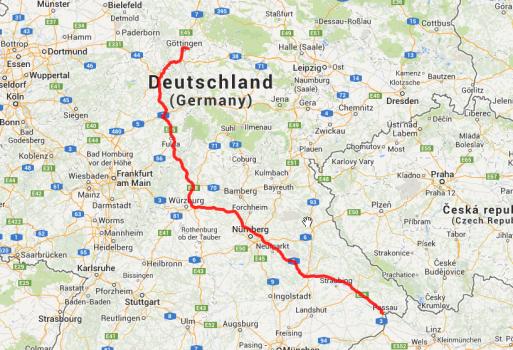 Von Mumpfelhausen bei Göttingen nach Passau