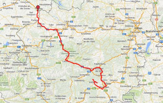 Heutige Route: Von Passau nach Graz und noch ein Stückchen weiter. Insgesamt ca. 370 Kilometer.