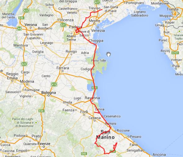 Gesamtstrecke des Tages: Insgesamt rund 400 Kilometer.