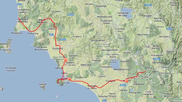 Tagestour: Von Piana delle Selve bei Amelia geht es ans Meer nach Orbetello, dann nach Norden bis San Vincenzo.