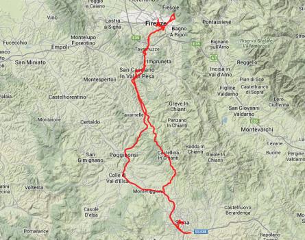 Tour des Tages: Von Siena nach Florenz und zurück, insgesamt 200 Kilometer.