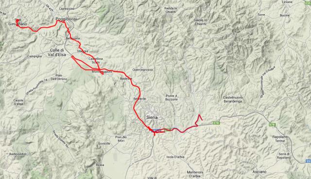 Tagestour: Von Siena nach Norden bis San Gimignano und am Abend nach Montaperti im Süden. Insgesamt ca. 130 Kilometer.