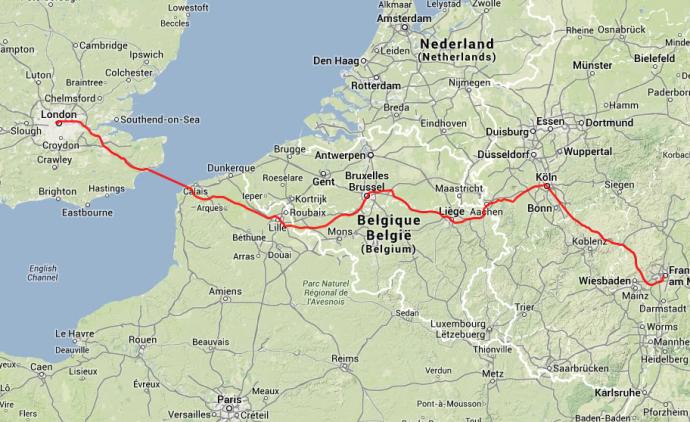Die Reiseroute ab Frankfurt