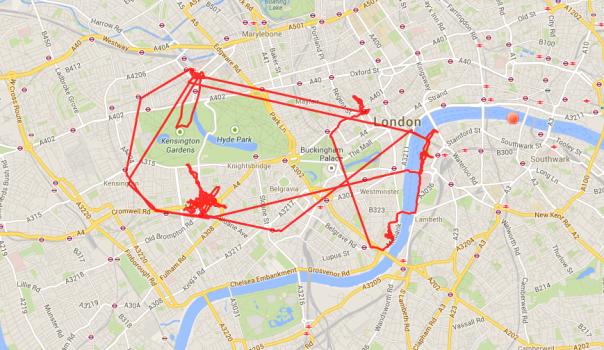 Herumgelaufe in Lodon: Von Paddington (nordwestlich) zum London Eye (südöstlich), zur Museumsmeile (westlich) und durch Soho (nordöstlich)