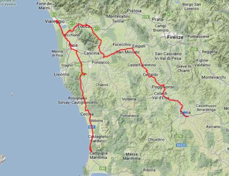 Tagestour: Von San Vincenzo nach Fauglia, dann nach Pisa, Viareggio, Lucca bis nach Siena. Rund 290 Kilometer.