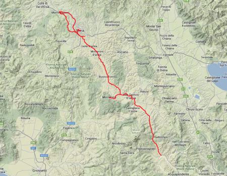 Tagestour: Von Siena aus bis hinter Montalcino, dann wieder zurück und eine kleine Schleife nördlich nach Monteriggioni.