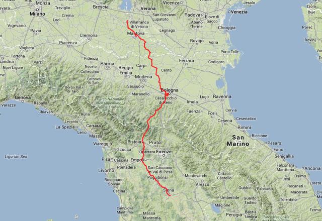 Tagestour: Von Siena nach Volta Mantovana am Gardasee, mit einem Zwischenstopp in Bologna. Insgesamt 480 Kilometer.
