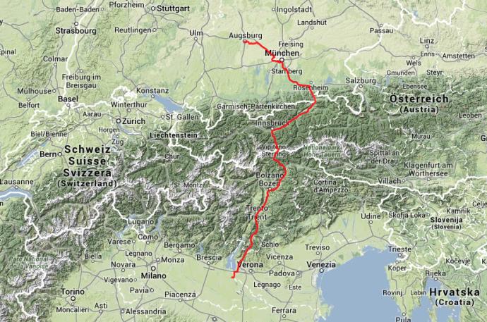 Über die Alpen: Von Volta Mantovana über den Brenner nach München, dann weiter nach Augsburg.