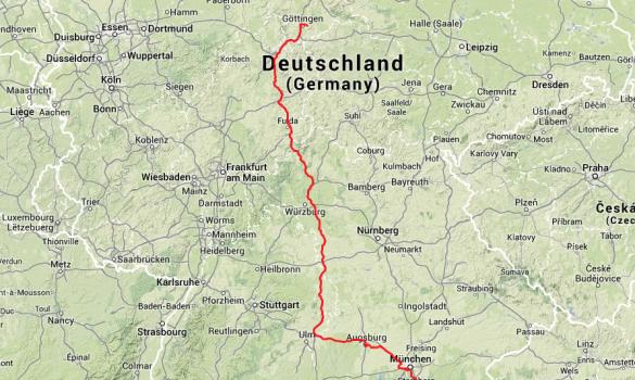 Die letzte Etappe: Von Augsburg nach Mumpfelhausen, knapp 500 Kilometer.