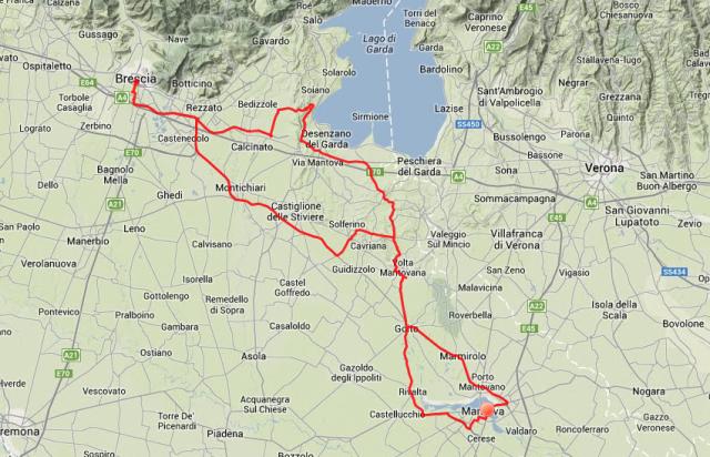 Tagestour: Vormittags nach Nordwesten, Mittags an den Gardasee, Nachmittags nach Mantua.