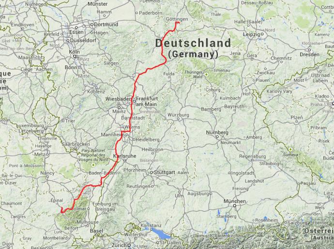 Strecke von Tag 1: Von Göttingen nach Remiremont, 485 Kilometer.
