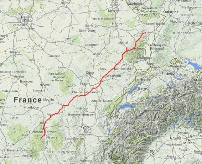 Von Remiremont in den Vogesen nach Clermont-Ferrand.