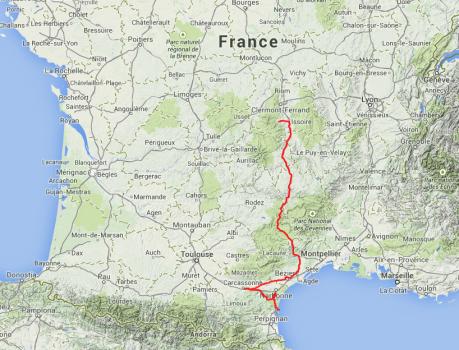 Heutige Tour. Von Saurier nach Carcassonne, dann an die Küste nach Leucate.