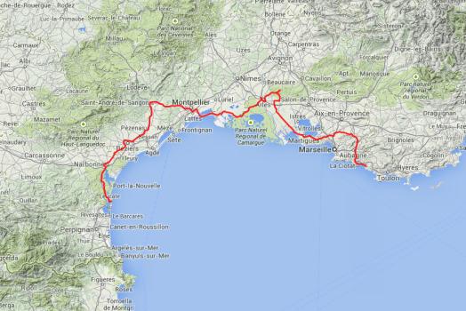 Von Leucate über Aigues-Mortes, durch die Carmargue in die Provence, dort nach Les Baux, von dort hinter Toulon.