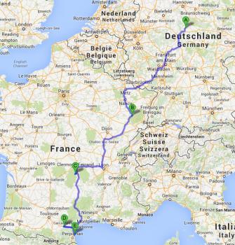 Route seit Beginn der Reise: Von Götham nach Remiremont in den Vogesen, von dort nach Saurier, dann über die Meridienne nach Süden, Carcassonne, dann Leucate.