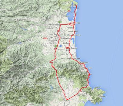 Von Leucate (nördlichster Punkt) über einen Ausläufer der Pyrenäen nach Figueres in Spanien (ganz im Süden), dann über die Küstenstraße zurück.