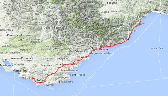 Tagestour: Von Saint Cyr sur Mer nach Savona,  rund 380 Kilometer