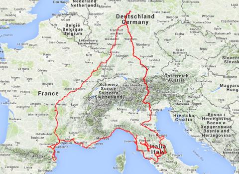 Die ganze Motorradreise 2014, durch Deutschland, Frankreich, Spanien, Monaco, Seborga, Italien, San Marino und Österreich.
