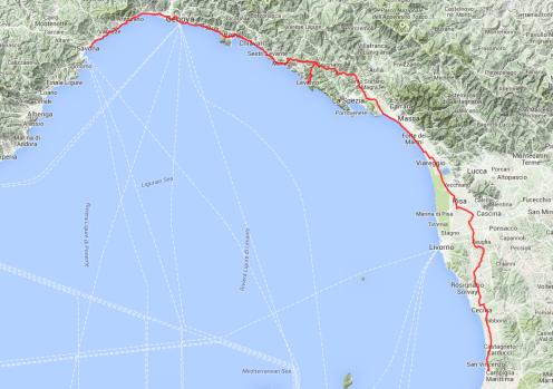 Tour von heute: Von Savona nach San Vincenzo, 310 Kilometer, sieben Stunden reine Fahrzeit.