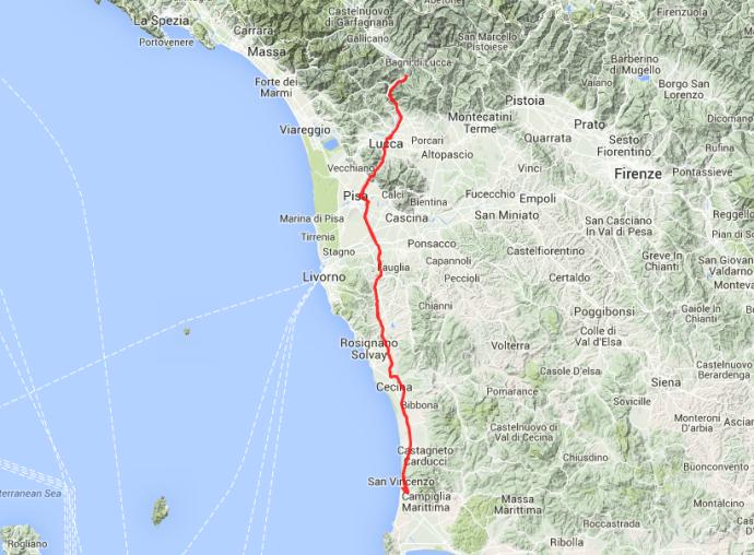 Borgo a Mozzano ist von San Vincenzo aus rund 130 Kilometer entfernt.