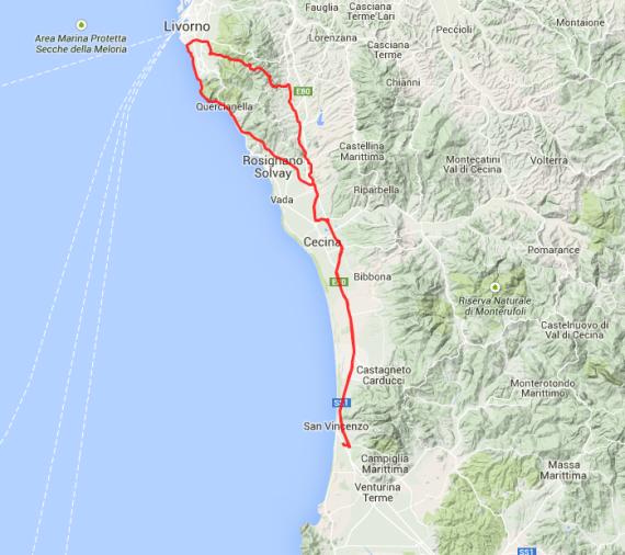 Zweite Strecke des Tages: Von San Vincenzo in die Berge, dann durch Livorno und wieder zurück. Rund 130 Kilometer.