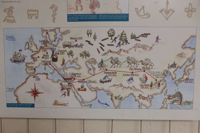 So verbreitete sich das Geheimnis der Papierherstellung in der Welt: Von China über die Seidenstrasse nach Fabriano.