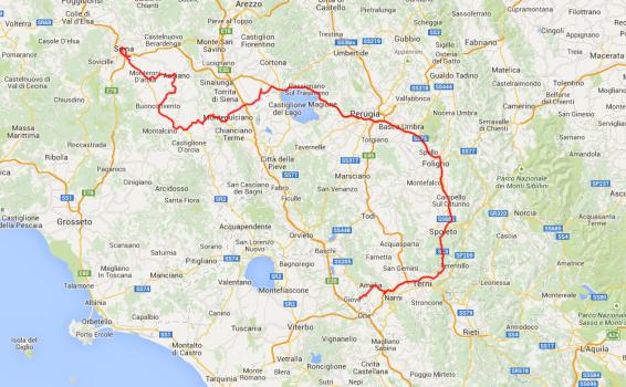 Tagestour: Von Amelia über Montepulciano nach Siena, ungefähr 300 Kilometer.