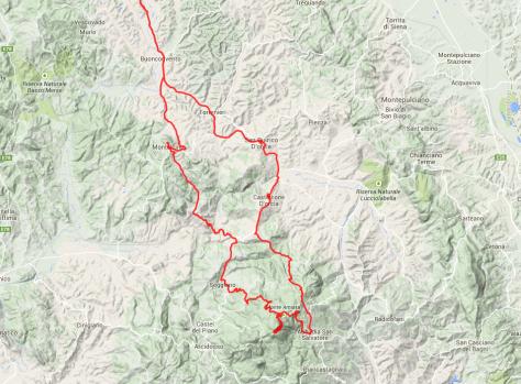 Die Südpassage: Von Siena nach Süden über San Quirico d´Orcia zum Monte Amiata, von dort nach Montalcino und zurück nach Siena.