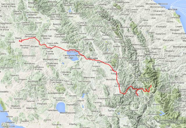 Tagestour: Von Siena über Norcia nach Castellucio, rund 230 Km.
