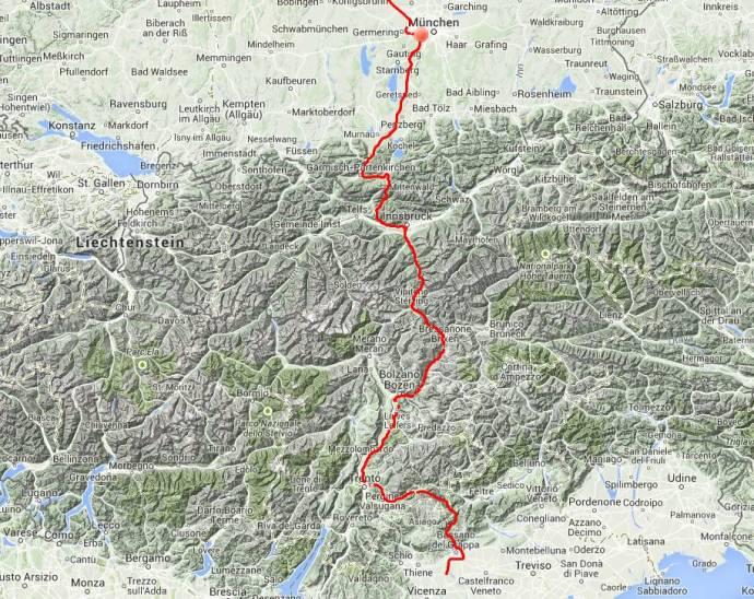 Tagestour:  Von Sandrigo über die alte Brennerstraße nach München, rund 450 Kilometer.