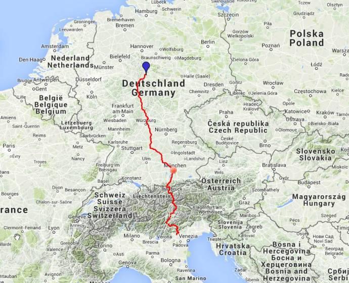 Etappe der Tage: Etwas mehr als 1.000 Kilometer liegen zwischen den südlichen Alpenausläufern und Göttingen.
