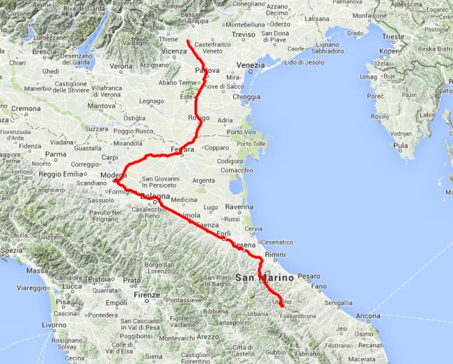 Heutige Tour: Von Urbino nach Norden, über San Marino, Imola und Bologna nach Modena, von dort bis an den Alpenrand nach Sandrigo. Rund 380 Kilometer.