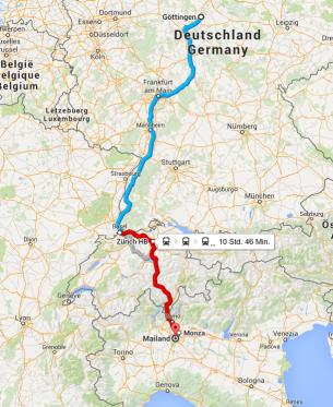 Das war der Plan: In etwas mehr als 10 Stunden mit der Bahn von Göttingen nach Mailand, mit nur einem Umstieg in Bern. Wie gesagt, das WAR der Plan.