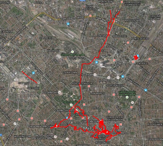 Rumlauferei in Mailand.