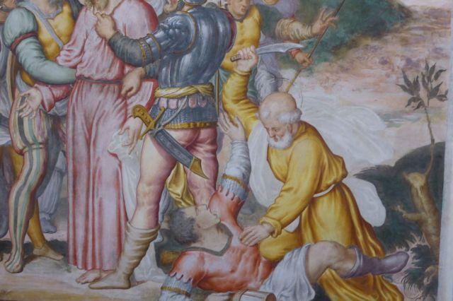 Detailaufnahme eines anderen Bildes von Petrus, dem Hooligan unter den Jüngern. Hier schneidet er gerade vor Wut einem Typen das Ohr ab.