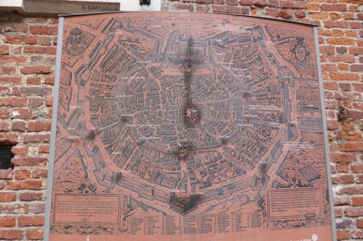 Stadtplan von Mailand, 15. Jahrhundert.